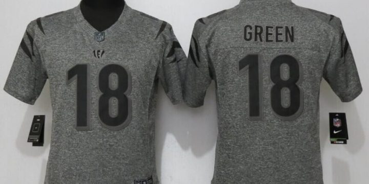 Womens Cincinnati Bengals 18 Green Gray Stitched Gridiron Gray New Nike Limited Jersey