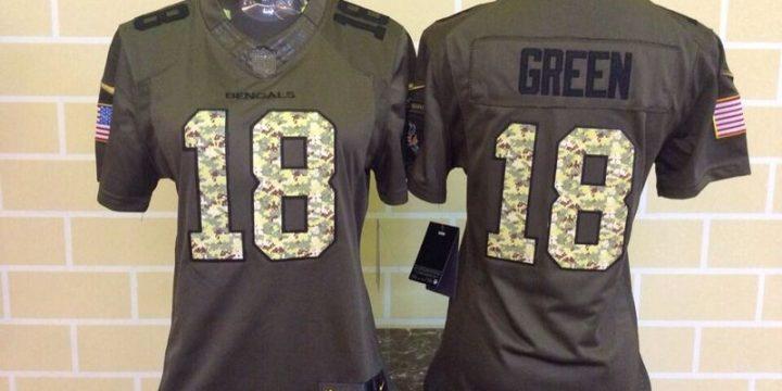 Womens Cincinnati Bengals 18 Green Green Nike Salute To Service Limited Jersey