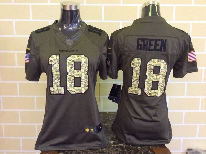 Womens Cincinnati Bengals 18 Green Green Nike Salute To Service Limited Jersey