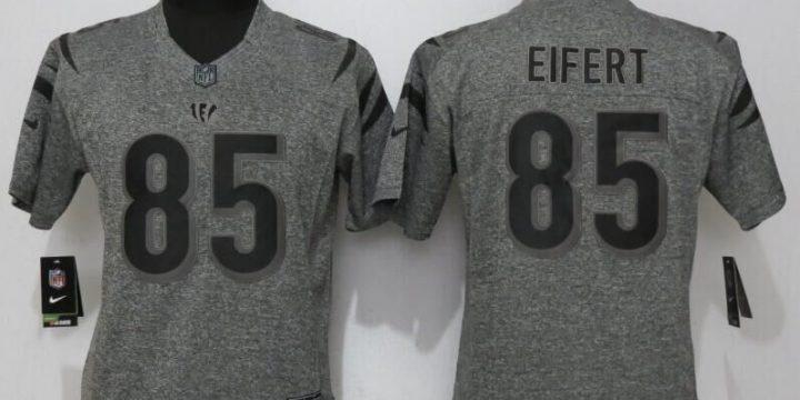 Womens Cincinnati Bengals 85 Eifert Gray Stitched Gridiron Gray New Nike Limited Jersey