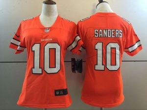 Womens Denver Broncos 10 Emmanuel Sanders Orange 2016 Nike Stitched NFL Limited Rush Jersey