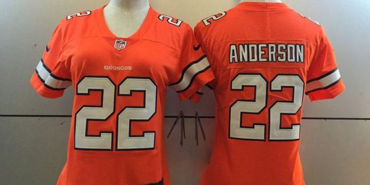 Womens Denver Broncos 22 C.J. Anderson Orange 2016 Nike Stitched NFL Limited Rush Jersey