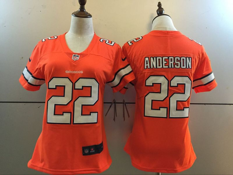 Womens Denver Broncos 22 C.J. Anderson Orange 2016 Nike Stitched NFL Limited Rush Jersey