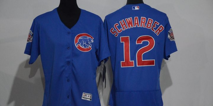Womens 2017 MLB Chicago Cubs 12 Schwarber Blue Elite Jerseys