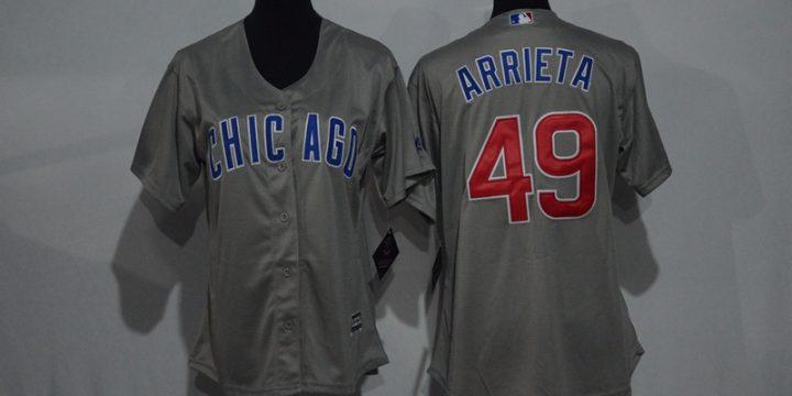 Womens 2017 MLB Chicago Cubs 49 Arrieta Grey Jerseys