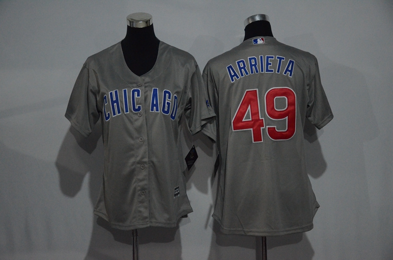 Womens 2017 MLB Chicago Cubs 49 Arrieta Grey Jerseys