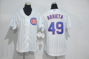 Womens 2017 MLB Chicago Cubs 49 Arrieta White Jerseys