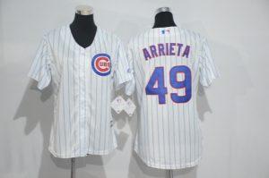 Womens 2017 MLB Chicago Cubs 49 Arrieta White Jerseys