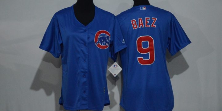 Womens 2017 MLB Chicago Cubs 9 Baez Blue Jerseys