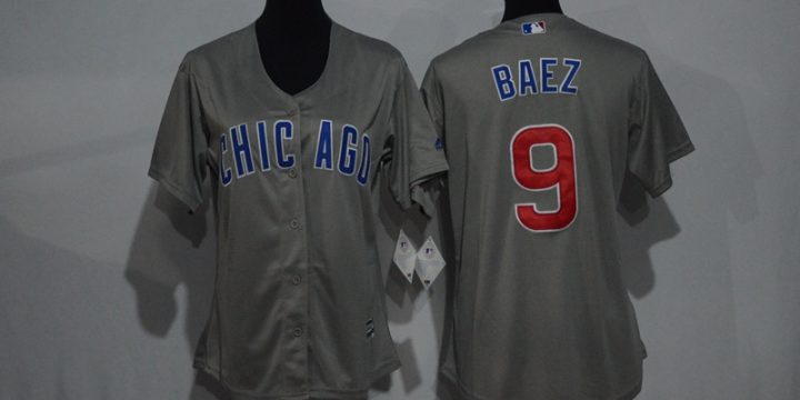 Womens 2017 MLB Chicago Cubs 9 Baez Grey Jerseys