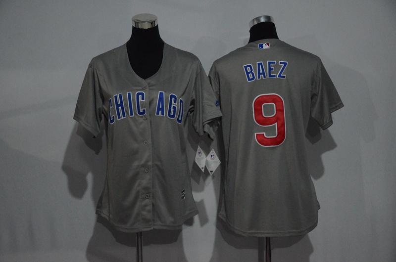 Womens 2017 MLB Chicago Cubs 9 Baez Grey Jerseys