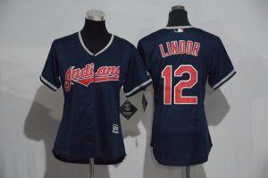 Womens 2017 MLB Cleveland Indians 12 Lindor Blue Jerseys