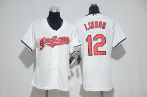 Womens 2017 MLB Cleveland Indians 12 Lindor White Jerseys