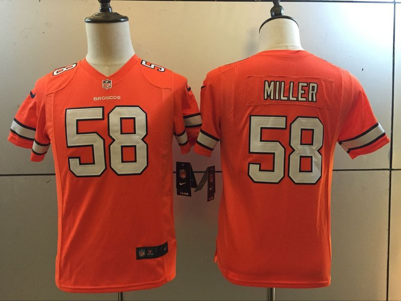 Youth Denver Broncos 58 Von Miller Orange 2016 Nike Stitched NFL Limited Rush Jersey