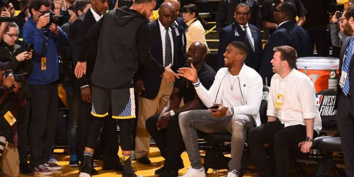 Anthony Joshua meets Stephen Curry at Golden State Warriors vs Houston Rockets