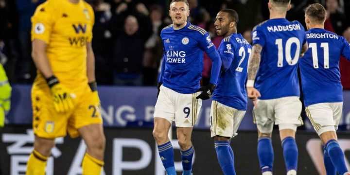 Vardy back among goals with brace as Leicester thump Aston Villa